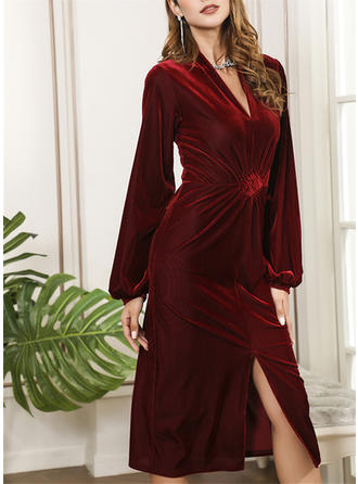 Solid Long Sleeves Sheath Midi Casual/Elegant Dresses