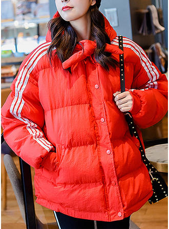 Cotton Long Sleeves Color Block Down Coats