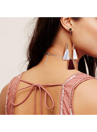 Charming Alloy Cotton String With Tassels Earrings
