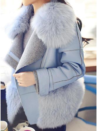 Faux Fur Cotton Long Sleeves Plain Blend Coats