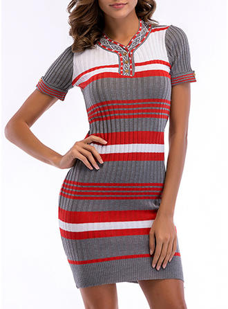 Striped V-neck Above Knee Bodycon Dress