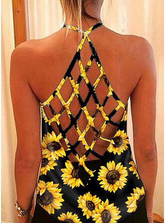 Sunflower Print Round Neck Sleeveless Casual Tank Tops