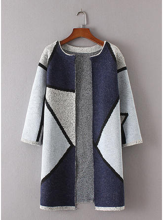 Polyester Color Block Cardigan