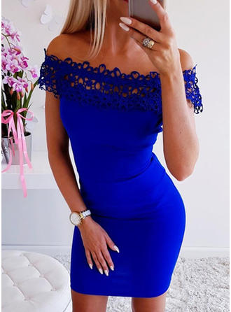Lace/Solid Cap Sleeve Bodycon Above Knee Little Black/Party/Elegant Dresses