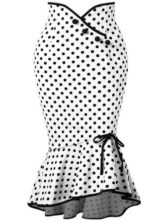 bomullsblandningar Polka Dot Knälång Bodycon kjolar