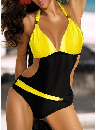 Elegant Low Waist Halter One-piece Swimsuit