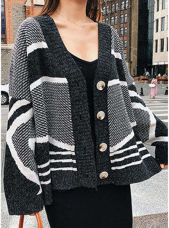 Knitting Long Sleeves Plain Striped Cardigans