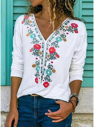 Print Floral V-Neck Long Sleeves Casual T-shirt