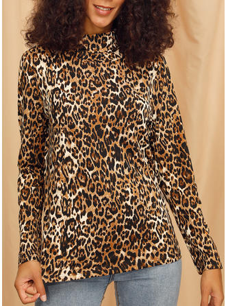 Animal Print High Neck Long Sleeves Casual Knit Blouses