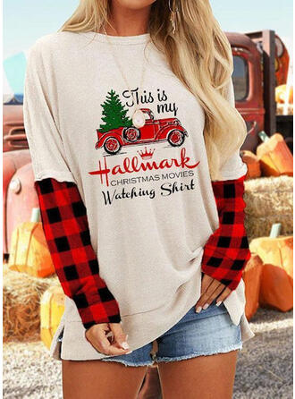 Print Figure Plaid Round Neck Long Sleeves Casual Christmas Blouses