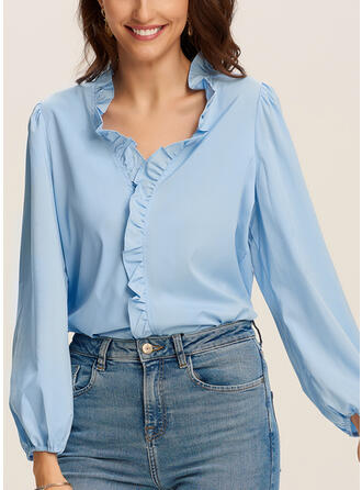 Solid V-Neck Puff Sleeves Long Sleeves Casual Blouses (1003293771)