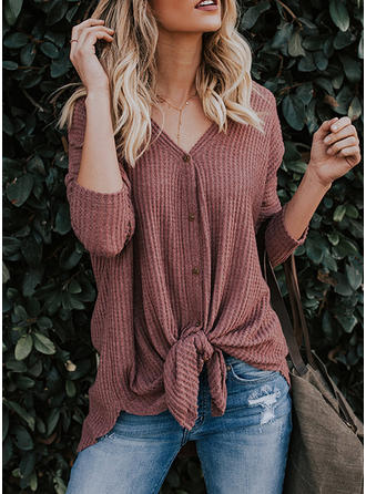 Cotton V Neck Plain 3/4 Sleeves Casual Blouses