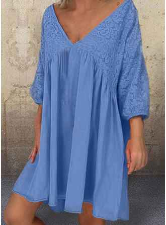 Lace/Solid 3/4 Sleeves Shift Above Knee Casual Dresses