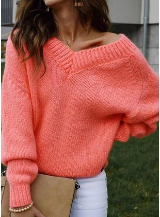 Jednolity Krata Dekolt w kształcie litery V Swetry