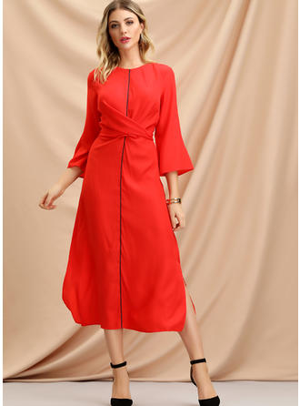 Solid 3/4 Sleeves A-line Midi Casual Dresses