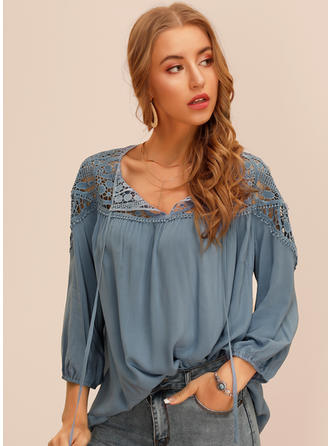 Solid Lace V Neck 3/4 Sleeves Casual Blouses