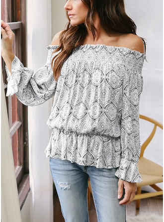 Cotton Off the Shoulder Plain Long Sleeves Casual Blouses