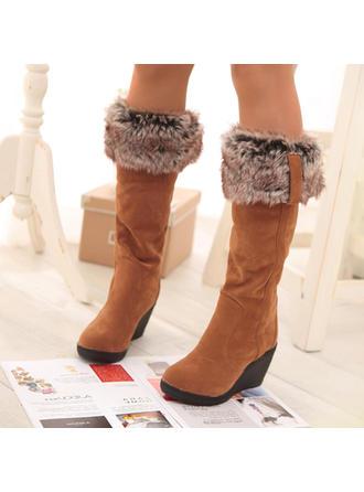 Femmes PU Talon compensé Bottes mi-mollets Bottes neige avec Fausse Fourrure chaussures