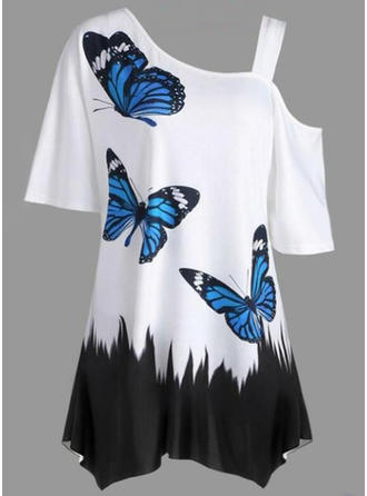 Print One Shoulder Short Sleeves Casual Elegant Blouses