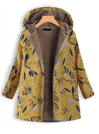 Polyester Long Sleeves Print Wide-Waisted Coats