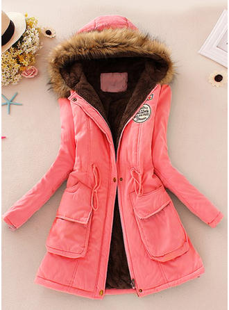 Faux Fur Long Sleeves Patchwork Slim Fit Coats