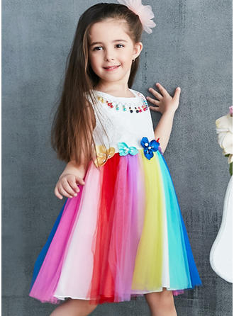 Girls Round Neck Lace Casual Cute Dress