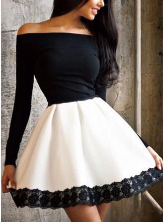 Lace Long Sleeves A-line Above Knee Sexy/Party Dresses