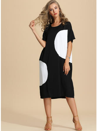 Color-block 1/2 Sleeves Shift Midi Casual Dresses