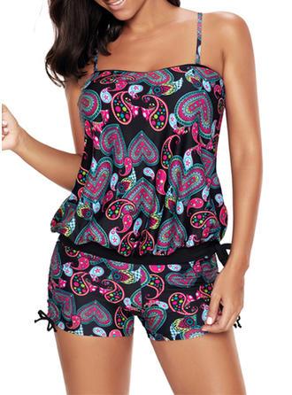Colorful Strap Tankini Swimsuit