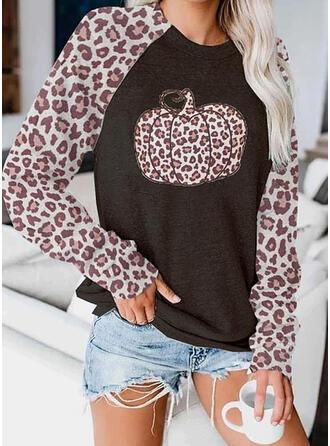 Leopard Halloween Rundhals Lange Ärmel Pullover
