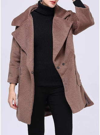 Polyester 3/4 Sleeves Plain Faux Fur Coats