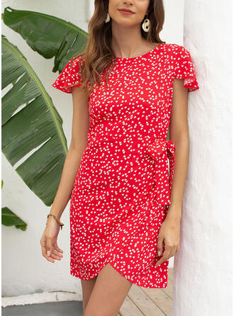 Print Short Sleeves Sheath Above Knee Casual/Vacation Dresses
