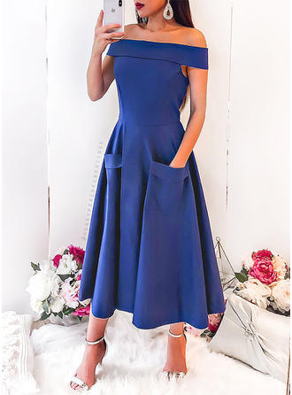 Solid Off-the-Shoulder Midi A-line Dress