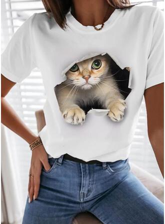 Print Dier Ronde Hals Korte Mouwen T-shirts