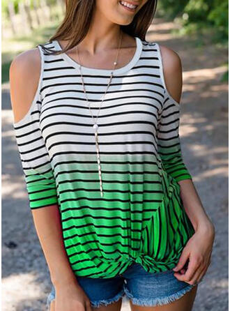 Print Striped Cold Shoulder 3/4 Sleeves Casual T-shirts
