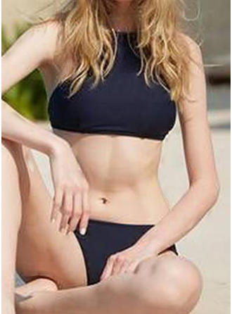 Solid Color Low Waist High Neck Elegant Bikinis Swimsuits