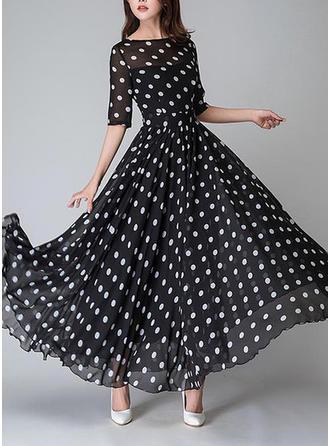 PolkaDot Round Neck Maxi A-line Dress