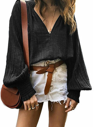 Solid V-Neck Lantern Sleeve Long Sleeves Casual Blouses