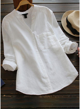 Cotton Stand-up Collar Plain Long Sleeves Casual Blouses