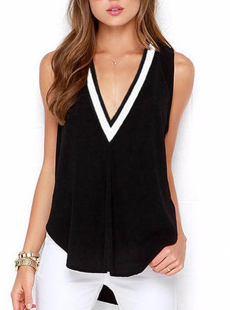 Solid V Neck Sleeveless Casual Elegant Sexy Tank Tops
