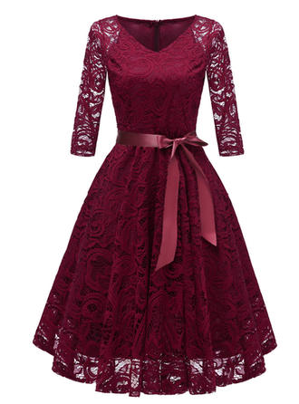 Lace/Solid 3/4 Sleeves A-line Knee Length Vintage/Elegant Dresses