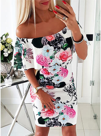 Print/Floral Short Sleeves Bodycon Above Knee Sexy/Party Dresses
