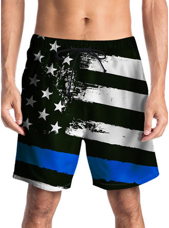 Men's Stripe Print Board Shorts Swimsuit