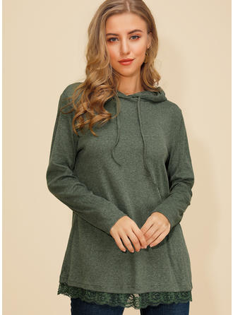 Solid Lace Long Sleeves Casual Knit Blouses