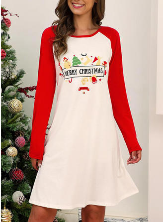 Print/Color Block Long Sleeves Shift Knee Length Christmas/Casual Dresses