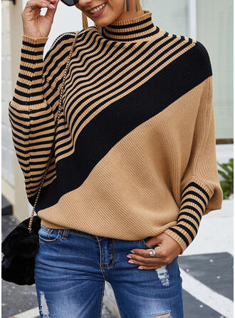 Color Block Striped Turtleneck Casual Sweaters