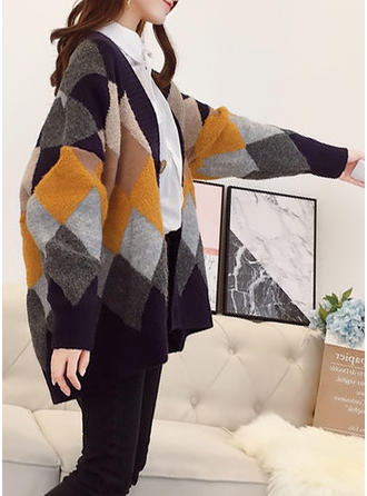 Knitting Long Sleeves Patchwork Wide-Waisted Coats