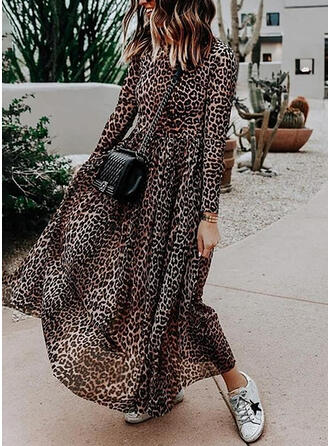 Leopard Long Sleeves A-line Casual/Vacation Maxi Dresses
