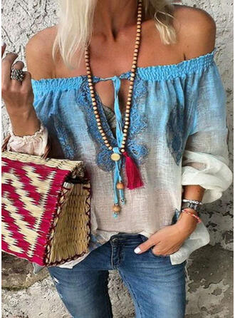 Print Off the Shoulder Lantaarn Mouw Lange Mouwen Casual Blouses