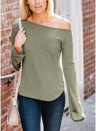 Cotton Blends Off the Shoulder Plain Sweater